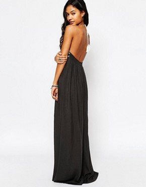 photo Alva Embroidered Maxi Dress in Faded Black by Star Mela, color Faded Black/Ecru - Image 2