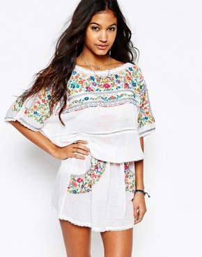 photo Pabla Embroidered Dress in Rainbow Floral by Star Mela, color White/Multi - Image 1