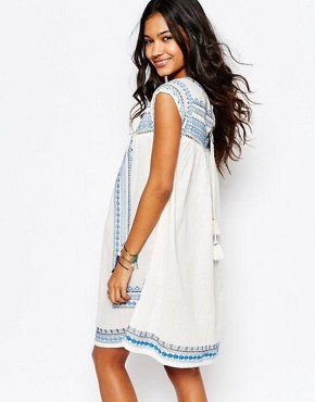photo Allie Embroidered Tunic Dress by Star Mela, color Ecru/Blue - Image 2