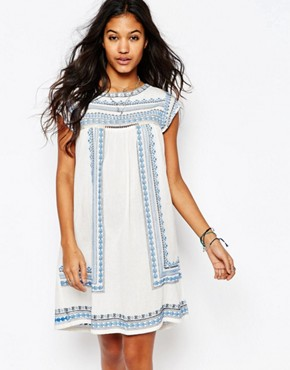 photo Allie Embroidered Tunic Dress by Star Mela, color Ecru/Blue - Image 1