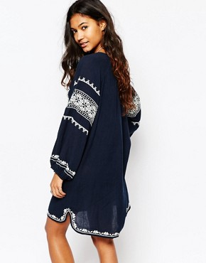 photo Mayra Embroidered Dress in Navy by Star Mela, color Navy/Ecru - Image 2