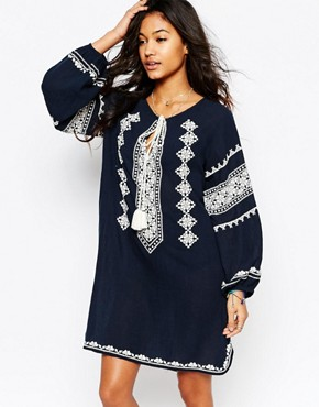photo Mayra Embroidered Dress in Navy by Star Mela, color Navy/Ecru - Image 1