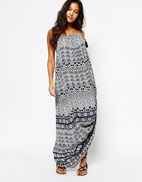photo Agni Print Maxi Dress with Tassle Tie Straps by Star Mela, color Ecru/Black - Image 1