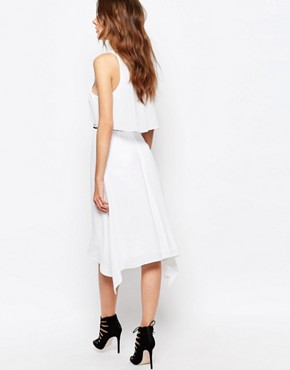 photo Handkerchief Midi Dress with Ruffle Front by BCBG Max Azria, color White Combo - Image 2