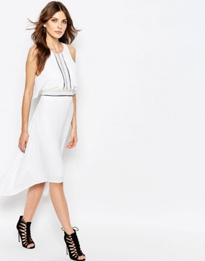 photo Handkerchief Midi Dress with Ruffle Front by BCBG Max Azria, color White Combo - Image 1