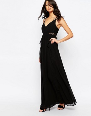 photo Lace Insert Plunge Neck Dress by BCBGeneration, color Black - Image 1