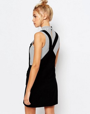 photo Corduroy Pinafore Dress with Messed Up Slogan by Lazy Oaf, color Black - Image 2