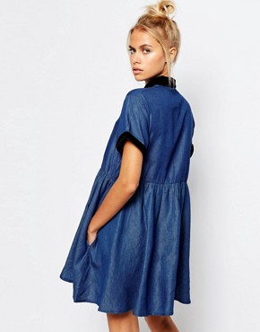 photo Button Front Tea Dress in Denim with Baby Embroidery by Lazy Oaf, color Blue - Image 2