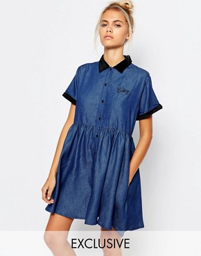 photo Button Front Tea Dress in Denim with Baby Embroidery by Lazy Oaf, color Blue - Image 1