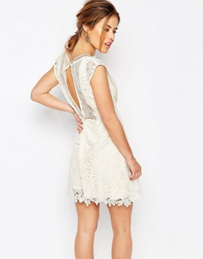 photo All Over Lace Skater Mini Dress with Frill Sleeve Detail by Little Mistress Petite, color Cream - Image 2