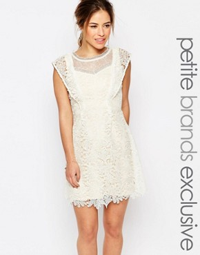 photo All Over Lace Skater Mini Dress with Frill Sleeve Detail by Little Mistress Petite, color Cream - Image 1