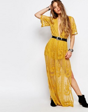 photo Boho Maxi Dress with Plunge Neck in Romantic Lace by Honey Punch, color Yellow - Image 1
