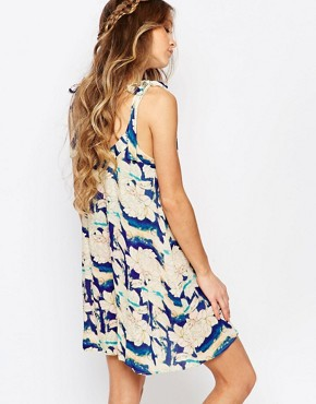 photo Festival Shift Dress with Shoulder Tie Straps in Oversized Floral by Honey Punch, color Multi - Image 2