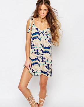 photo Festival Shift Dress with Shoulder Tie Straps in Oversized Floral by Honey Punch, color Multi - Image 1