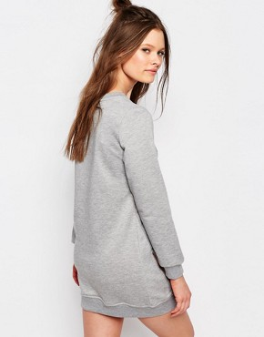 photo Jersey Motif Sweat Dress with Zip Detail by One Day Petite, color Grey Marl - Image 2