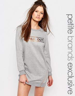photo Jersey Motif Sweat Dress with Zip Detail by One Day Petite, color Grey Marl - Image 1