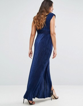 photo Pleated Front Maxi Dress by Missguided Plus, color Navy - Image 2