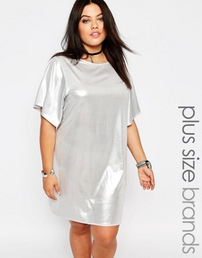 photo Shiny T-Shirt Dress by Missguided Plus, color Silver - Image 1