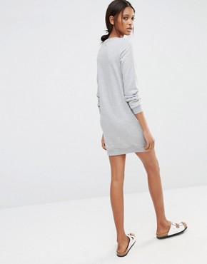 photo Jersey Motif Sweat Dress with Zip Detail by One Day Tall, color Grey Marl - Image 2