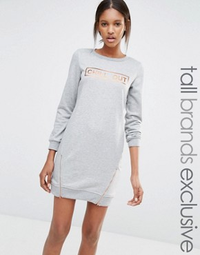 photo Jersey Motif Sweat Dress with Zip Detail by One Day Tall, color Grey Marl - Image 1