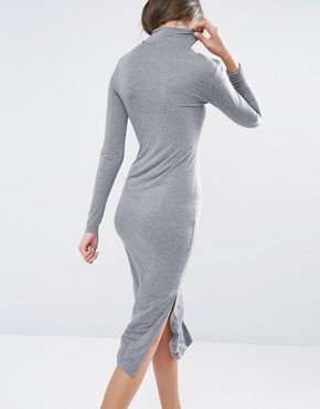 photo Longline Split Side Jersey Dress with Roll Neck by One Day Tall, color Charcoal - Image 2