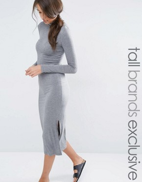 photo Longline Split Side Jersey Dress with Roll Neck by One Day Tall, color Charcoal - Image 1