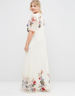photo Floral Maxi Dress in Embroidered Mesh by ASOS CURVE SALON, color Print - Image 2
