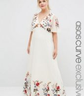 photo Floral Maxi Dress in Embroidered Mesh by ASOS CURVE SALON, color Print - Image 1