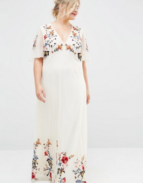 photo Floral Maxi Dress in Embroidered Mesh by ASOS CURVE SALON, color Print - Image 3