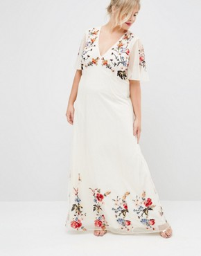photo Floral Maxi Dress in Embroidered Mesh by ASOS CURVE SALON, color Print - Image 4