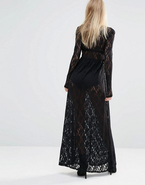 photo Sheer Maxi Dress in All Over Lace by Noisy May x Bloody Noisy, color Black - Image 2
