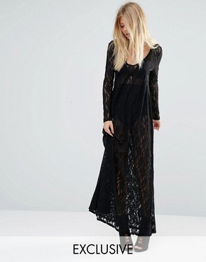 photo Sheer Maxi Dress in All Over Lace by Noisy May x Bloody Noisy, color Black - Image 1