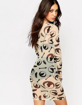 photo Sheer Bodycon Dress with All Over Wolf Print by Noisy May x Bloody Noisy, color White - Image 2