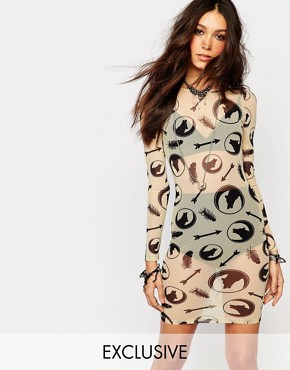 photo Sheer Bodycon Dress with All Over Wolf Print by Noisy May x Bloody Noisy, color White - Image 1