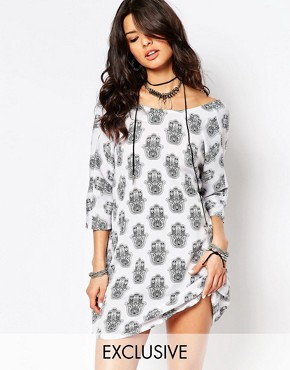 photo Tunic Dress with All Over Hamsa Print by Noisy May x Bloody Noisy, color Black - Image 1
