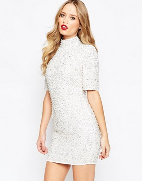 photo Pearl Scatter Mini Bodycon Dress by ASOS PREMIUM, color White - Image 1