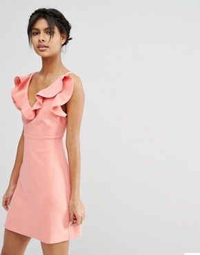 photo Structured Frill A-line Mini Dress by ASOS, color Coral - Image 1