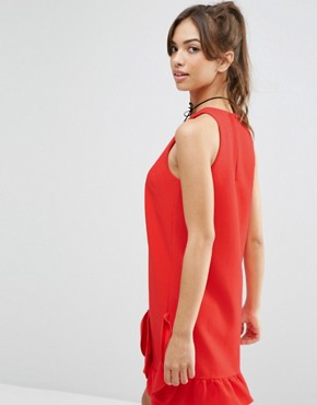 photo Extreme Frill Shift Dress by ASOS, color Red - Image 2