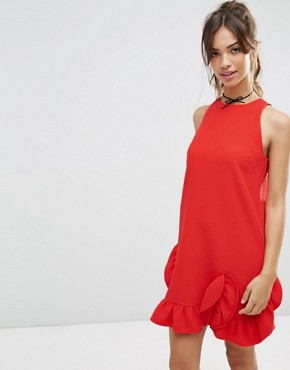 photo Extreme Frill Shift Dress by ASOS, color Red - Image 1