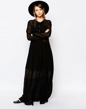 photo Kwan Maxi Smock Dress by Samsoe & Samsoe, color Black - Image 1