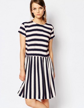 photo Vermund Skater Dress in Stripe by Samsoe & Samsoe, color Multi - Image 1