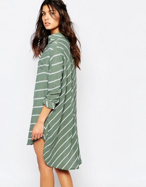 photo Walker Stripe Tie Dress by Faithfull The Brand, color Pablo Green - Image 2