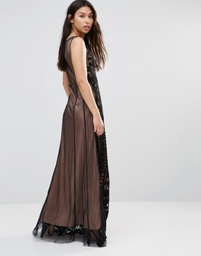 photo Maxi Dress with Sheer Detail by A Star Is Born, color Black - Image 2