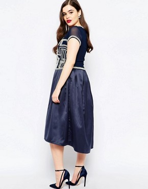 photo 2 in 1 Embellished Bodice Midi Dress by Lovedrobe Luxe, color Navy - Image 2