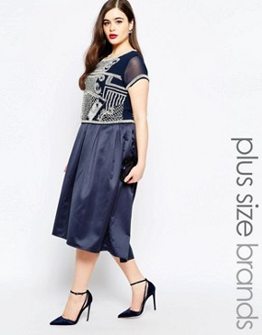 photo 2 in 1 Embellished Bodice Midi Dress by Lovedrobe Luxe, color Navy - Image 1