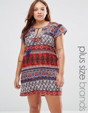 photo Shift Dress in Paisley Stripe by Diya Plus, color Multi - Image 1