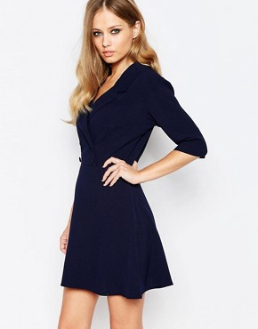photo Tailored Double Breasted Dress by Love, color Navy - Image 1