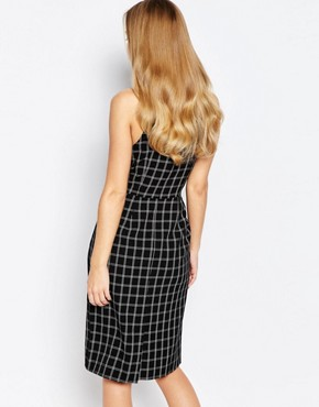 photo High Neck Midi Pencil Dress by Love, color Grey Check - Image 2