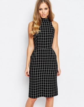 photo High Neck Midi Pencil Dress by Love, color Grey Check - Image 1