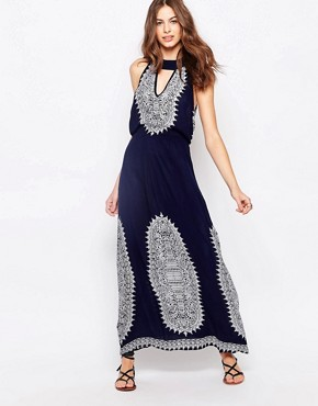 photo Maxi Dress with Key Hole Detail by Diya, color Navy/White - Image 1